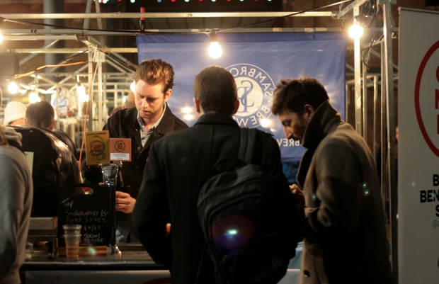 Bethnal Green's One Mile End brewery pouring beer for thirsty customers on Friday evening's LBM session